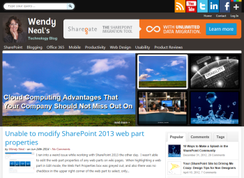 Screenshot of Wendy Neal's newly redesigned technology blog
